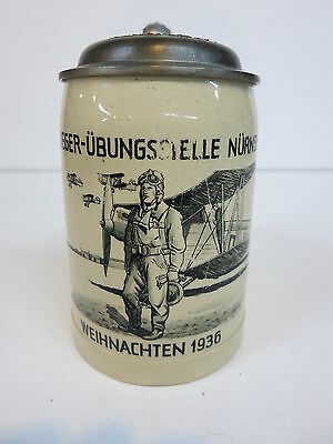 Regimental Military German Beer Stein FLIEGER–ÜBUNGSSTELLE NÜRNBERG 1936 Airplan