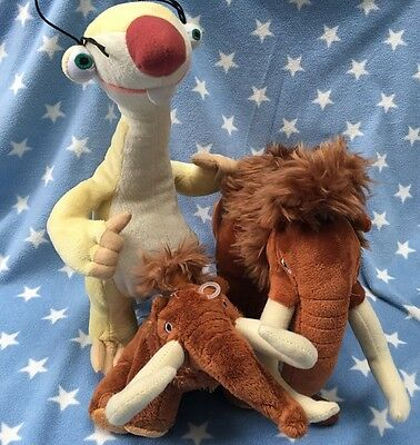 MANNY, SID The Sloth & MANFRED ICE AGE 4 Soft Toys Brand New