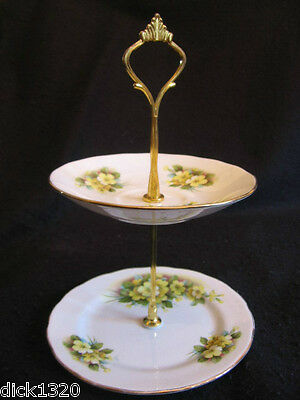 VINTAGE GAINSBOROUGH CHINA 'MARIGOLDS' 2-TIER CUPCAKE STAND c.1950's EX