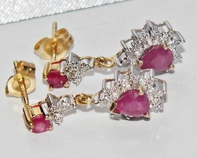 9ct Yellow Gold Ruby & Diamond Ladies Cluster Dropper Stud Earrings -