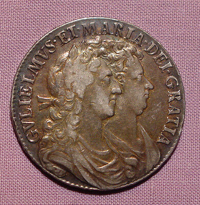 1689 WILLIAM & MARY SILVER HALF CROWN - Nicely Toned Example