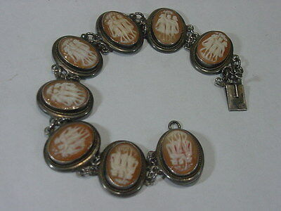 Victorian Hand Carved Shell Cameo Bracelet 3 Muses