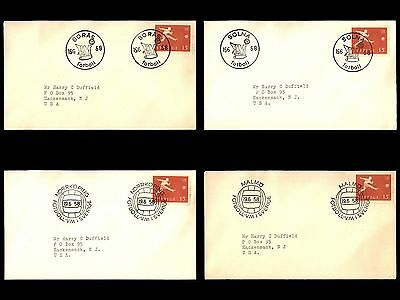 Sweden 1958 Soccer Football Pictorial Cancellations on 7 Covers