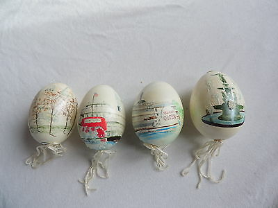 Lot Easter Eggs Hand Painted Ornaments River Boat Music Hall Fountain (a125)