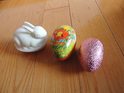 Vintage Easter Decorations Egg Germany Candy Container Imperial Rabbit Nest a112
