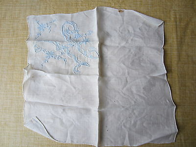 Vintage Handkerchief - White w/lt. blue embroidered initial H, rolled hem