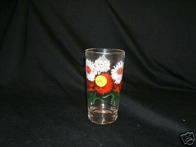 """Peanut Butter Glass Standard Size 5"""" Dianthus Pink Flower Lettering in Red VGC"""