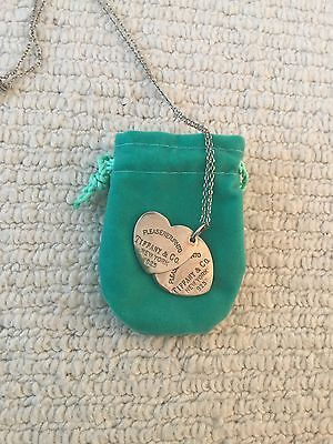 Genuine Preloved Tiffany Double Heart Sterling Silver Pendant Necklace