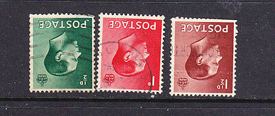 GB Postage Stamps - KEVIII 3 x Used Inverted Wmk