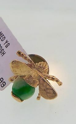 Estate Vintage Jade &  Solid 14K Yellow Gold Fly Pendant/Pin