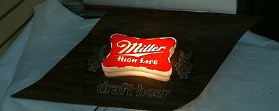 NICE VINTAGE MILLER HIGH LIFE LIGHTED DRAFT BEER SIGN BAR LITE mirror 60'-70's