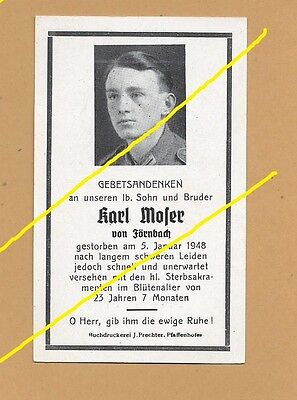 WWII German Death Card Sterbebild January 1948                                 G