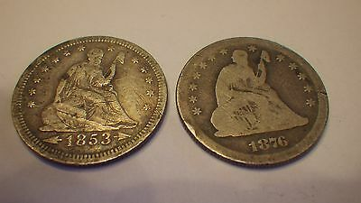 1853 & 1876-S  Seated Silver Quarters   Ag