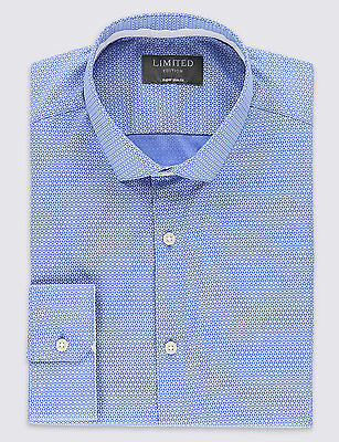 "Mens M&S Limited Edition Super Slim Fit Formal Long Sleeve Longer Shirt 18"" New"