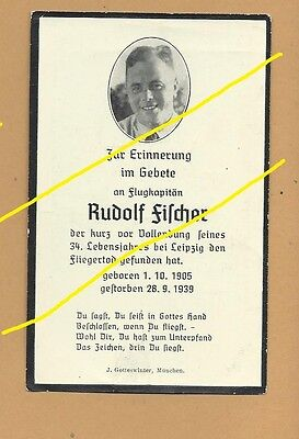WWII German Death Card Sterbebild Luftwaffe Flight Captain Sept 1939 Leipzig   P