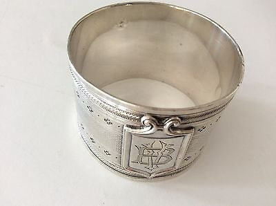 1875-1880 Francois Nicoud  HALLMARKED Woman Head NAPKIN RING  Etched BV