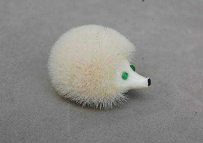 "Breba Western Germany Hedgehog Pin Fuzzy Bristle 1 1/4"" Vintage White Gem Eyes"