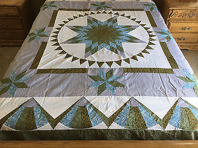 Machined Patchwork quilt top /Queen size #1555