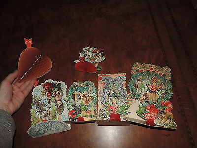 Antique Valetine's Day Cards Honeycomb Standup & More German (c961)