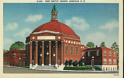 Vintage Linen Postcard - First Baptist Church, Asheville, North Carolina