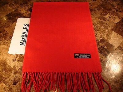 100% CASHMERE Long Scarf 72X12 SOLID RED 2PLY Made in Scotland Warm Wool Unisex