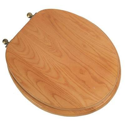Designer Solid Round Oak Wood Toilet Seat with Antique Brass Hinges, Natural ...