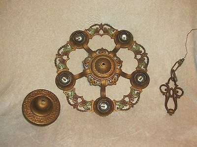 Antique Vtg Art Deco 5 Light Chandelier Polychrome Ceiling Light Fixture