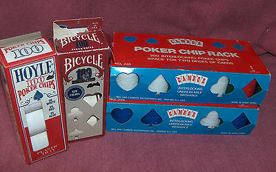 Four Boxes Of Poker Chips And Trays - Mixed Colors