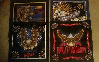 NEW set of 4 Vintage  Harley Davidson Licensed Bandanas head wraps headband