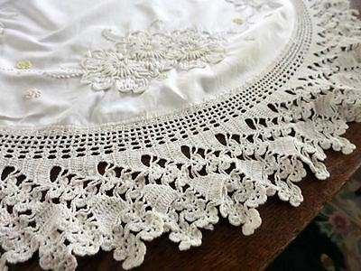 """38"""" """" ROUND Heavy Hand Made Crochet Embroidery Tablecloth Large Doily"""