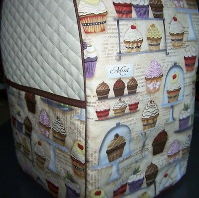 Cupcake Recipes Baking Quilted Fabric Cover for KitchenAid Mixer NEW