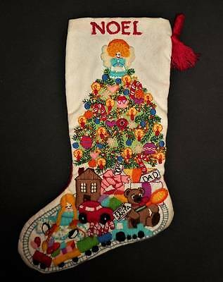 Christmas Tree Fantasy Finished Kit Completed Vintage Crewel Embroidery Stocking