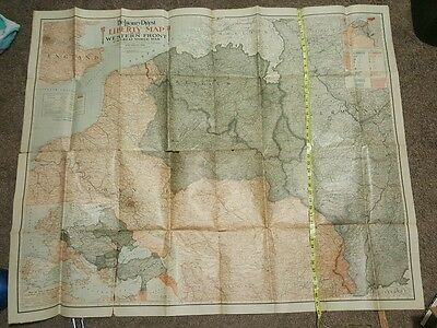 Vintage 1918 Large Literary Digest map western front great world war 50 x 42 in