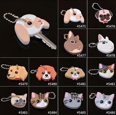 Cute Silicone Key Rings Cap Head Cover Keychain Case Shell Animals Shape Lovely