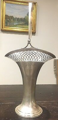 """Antique sterling 1912 17.5"""" Tall silver bride's basket Frank Whiting Co. Mass."""