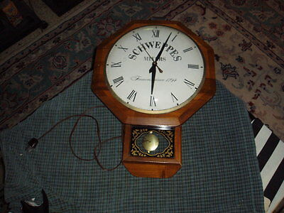 Vintage 50's SCHWEPPS MIXERS WOOD PENDULUM CLOCK Advertisement SIGN For Repair !