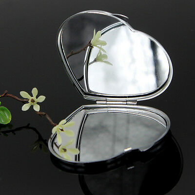 1 x Beautiful Heart Shape Silver Tone Makeup Compact Mirror with Small Bag New