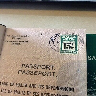 Malta  Revenue Stamp with Vintage Passports cancelled of Malta