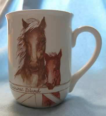 Pair of Horses Mare and Colt on Vintage Ceramic Mug Mackinac Island Collectible