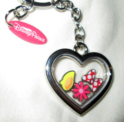Disney Parks Minnie Mouse Heart with Charms Bow Transparent Keychain - NEW