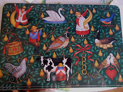 Set of 4 Cork Backed Christmas Placemats The Twelve Days Of Christmas