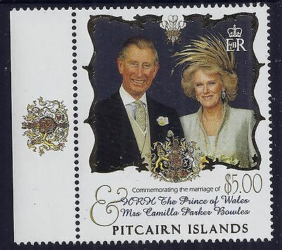 2005 Pitcairn Islands Prince Charles & Camilla Wedding $5 Stamp Fine Mint Mnh