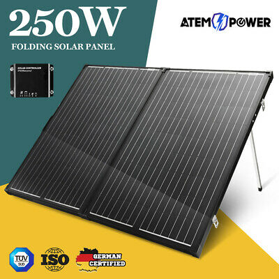 Mono 250W 12V Folding Solar Panel Kit Caravan Boat Camping Power Charging