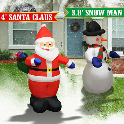 4 Air Blown Inflatable Santa Claus Snowman Christmas Decor W