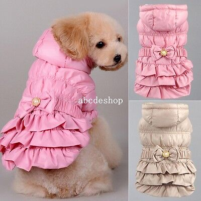 Sweet Dog Pet Cat Clothes Outwear Coat Padded Hoodie Warm Coat Apparel Jacket