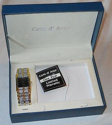 Cote D Azur Fancy Analog Gold & Silver Color Wrist Watch NEW in the Box