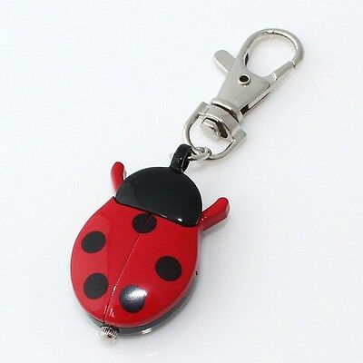 Fashion Colorful Ladybug Beetle Pocket Key Rings Quartz Watch Party Gifts GL02K