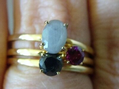 Silver Sapphire And Garnet Triple Ring