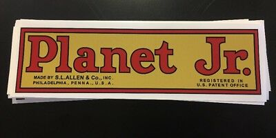 "Planet Jr. Decal Walking Tractor BP1 Plow 10-1/4"" Antique Gold Red Black"