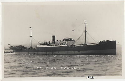 S.S. Clan Maciver, Shipping Real Photo Postcard, B555